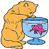 Cat and a Fish Bowl Coloring