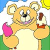 Bear Eating Ice Cream Coloring