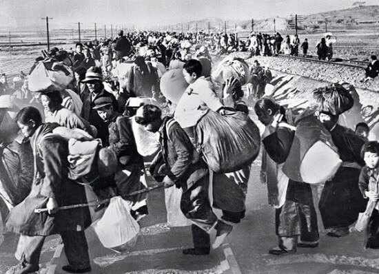 Hundreds of thousands of South Koreans fled to the  south after the North Korean army crossed the border in mid-1950.