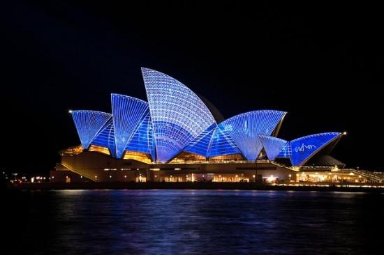 A beautiful night time shot of the Sydney Opera House.