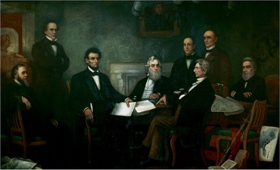 Lincoln signing the Emancipation Proclamation.