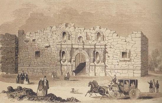 The Alamo, as drawn in 1854.