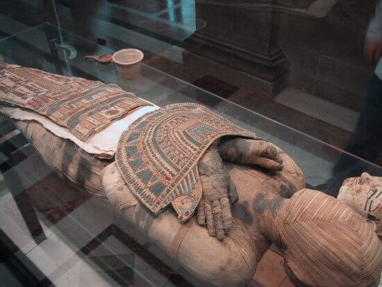 Egyptian mummy at the Louvre in Paris.