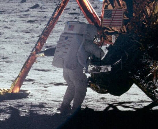 Neil Armstrong on the surface of the moon.