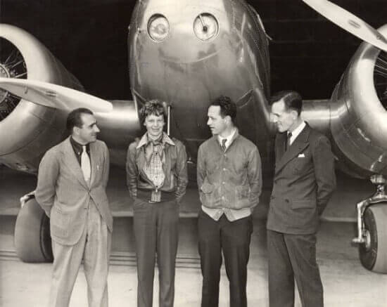 Paul Mantz, Amelia Earhart, Harry Manning and Fred Noonan