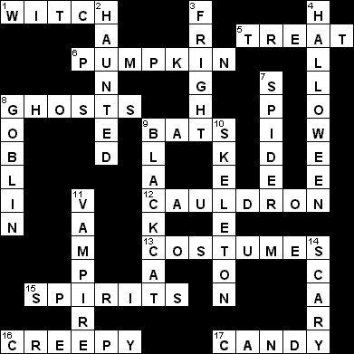 halloween crossword answer sheet - Bogglesworld Halloween
