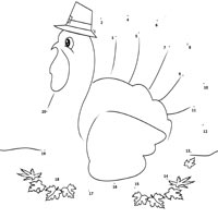 Turkey in Pilgrim Hat Dot to Dot