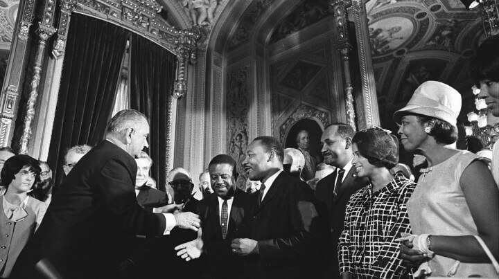 Johnson, King, Parks after signing of Voting Rights Act