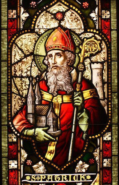 Saint Patrick stained glass window Cathedral of Christ the Light, Oakland, CA.   By Sicarr (Flickr) [CC BY 2.0 ]