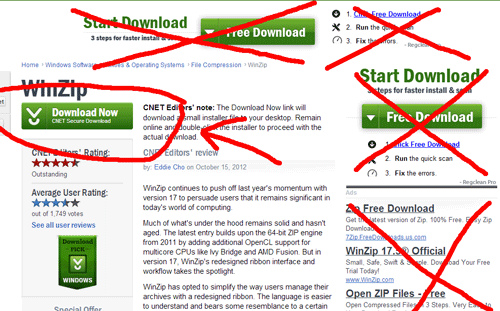 Don't fall prey to misleading download buttons.