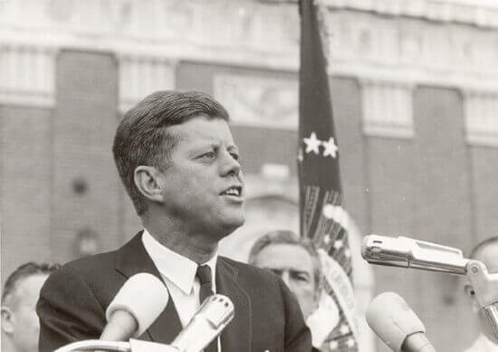 John F. Kennedy, 35th President of the United States from January 1961 until he was assassinated in November 1963.