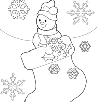 Snowman and Stocking Coloring Sheet