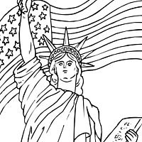 lady liberty and flag