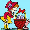 Funny Girl and Rabbit Coloring
