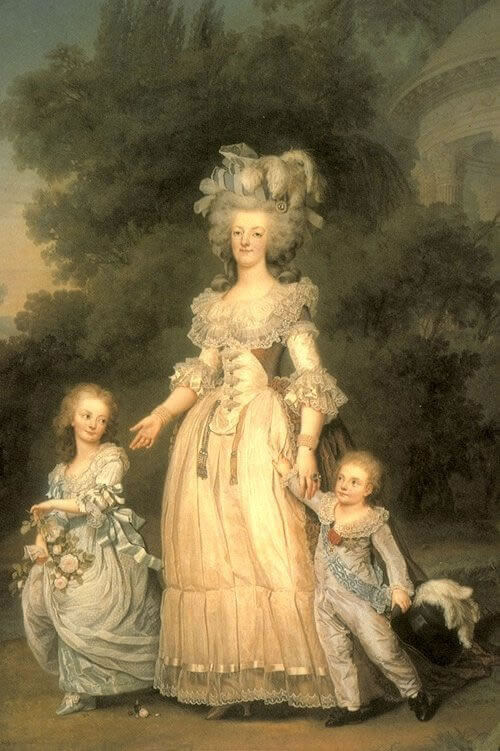 Marie Antoinette Walking in the Versailles Park with her Children, Louis Charles and Madame Royale. by Adolf Ulrich Wertmüller, 1785