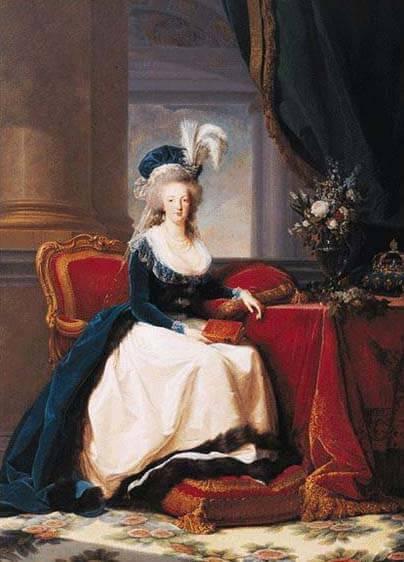 Portrait of Marie Antoinette 1786. Portrait by Louise Élisabeth Vigée Le Brun.