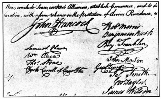 John Hancock's famous signature on the Declaration of Independence.