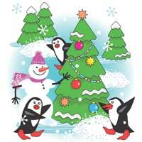 Penguins, Snowman, Tree
