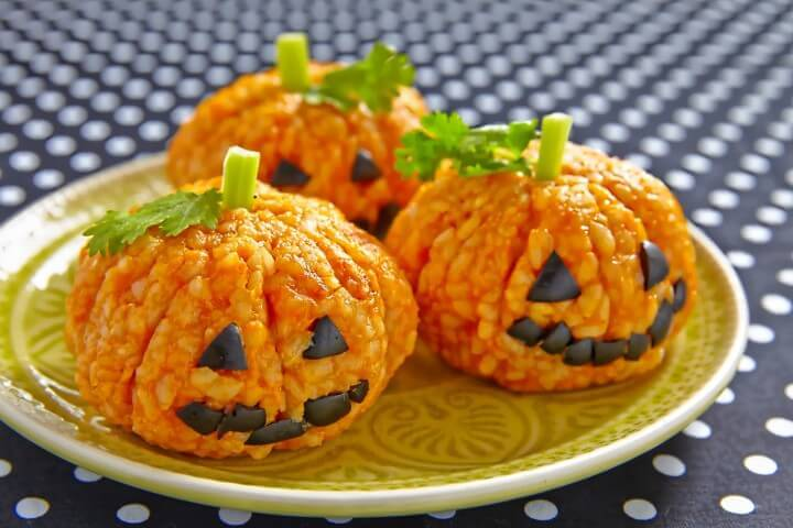 Pumpkin Rice Ball Jack O Lante