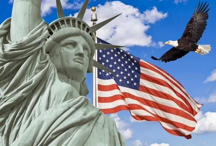 American Flag Flying Bald Eag