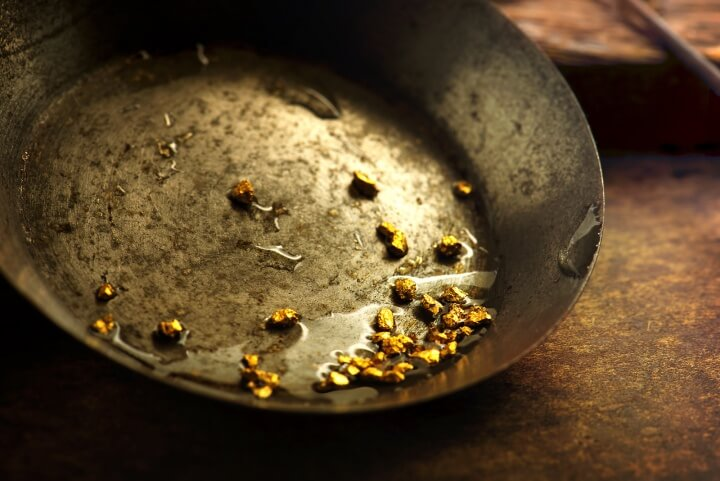Panning for gold in California Gold Rush