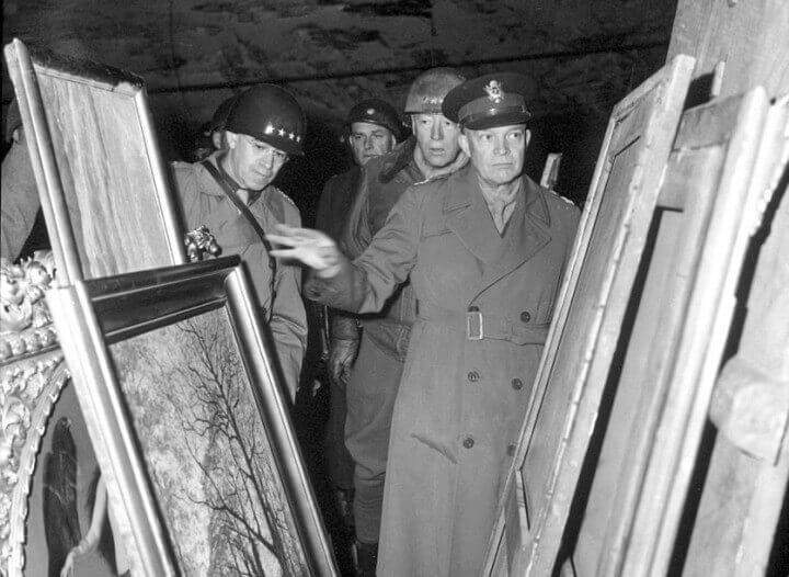 Eisenhower Bradley And Patton Inspect Looted Art E.