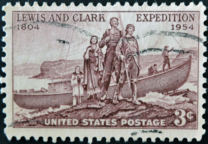 US Stamp commemorating Lewis and Clark expedition